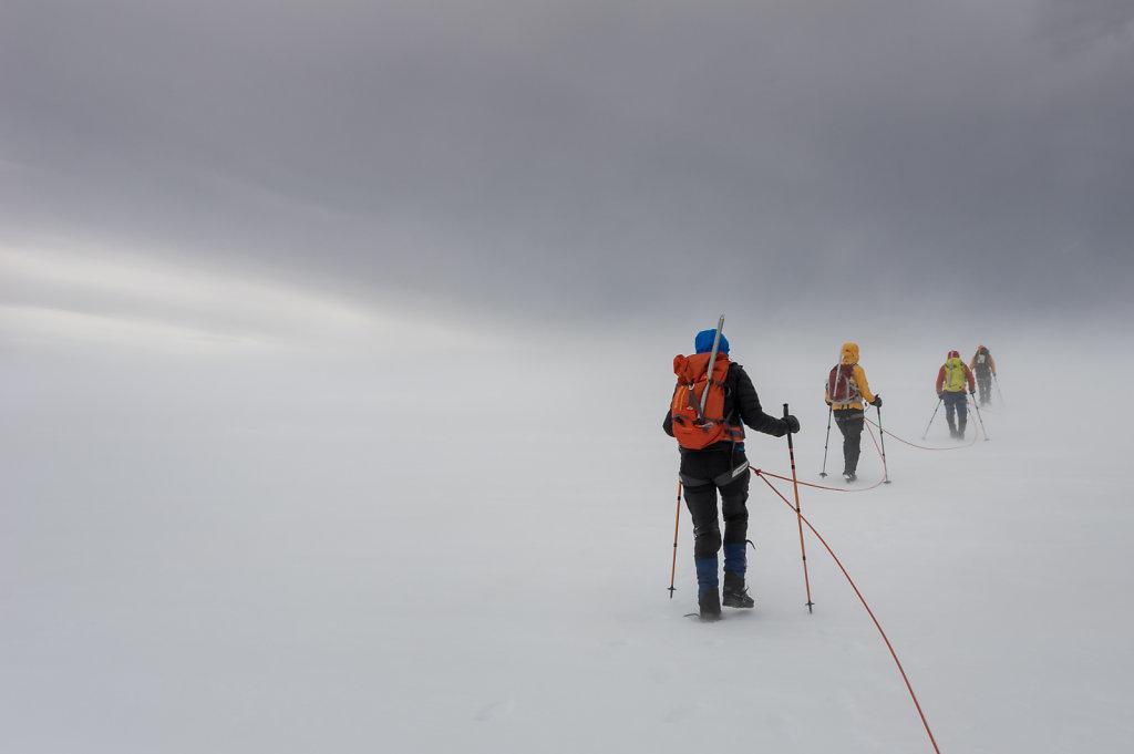 In snowstorm on Hvannadalshnjúkur, Iceland